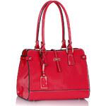 LS fashion LS dámská lakovaná kabelka 306 na rameno růžová