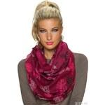 Dámský šátek se vzory peříček - vínově červený