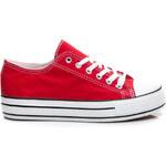 BELLUCCI Látkové červené dámské tenisky