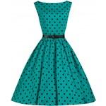 LINDY BOP Retro dámské šaty Audrey Tyrkysové Polka