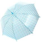 TopMode Krásný vystřelovací retro deštník s puntíky světle modrá