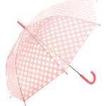 TopMode Krásný vystřelovací retro deštník s puntíky světle růžová