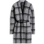 Esprit Vlněný kabát s károvaným vzorem, pásek