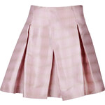 Jil Sander Navy Silk Jacquard Fine Wave Flared Skirt