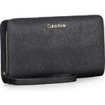 Černá kožená peněženka Calvin Klein saffiano Scarlett portfolio