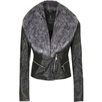 Topshop **Faux Fur Collared Biker Jacket by Rare