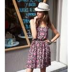 3Suisses Šaty bez rukávů s potiskem růžová s květy 44