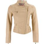 Glam Dámská koženková bunda - béžová
