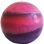 StarDeco Svíčka růžová žíhaná kulatá 7 cm