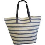 StarDeco Plážová taška přes rameno, pruhovaná, béžovo - černá