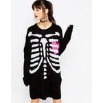 ASOS - Halloween Skeleton - Strick-Pulloverkleid - Schwarz