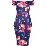 Fialové šaty Floral Bardot S