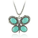 LightInTheBox Turquoise And Silver Alloy Butterfly Necklace