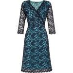LONDON TIMES Modro-černé krajkové midi šaty