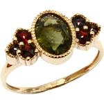 Bohemia Garnet Zlatý prsten s vltavínem a granáty - 688I, (Au585) vel. 50