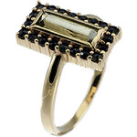 Bohemia Garnet Zlatý prsten s vltavínem a granáty - 837I, (Au585) vel. 50