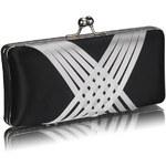 LS fashion společenská saténová kabelka LSE0062 černo-bílá