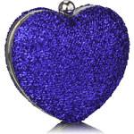 LS fashion společenská KABELKA LSE00263 LUREXOVÉ SRDCE tmave modrá