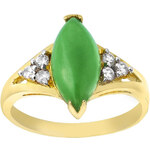 Giani Gold Plated Marquis Shaped Green Jade Ring
