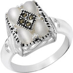 Giani Silver Plated Mother of Pearl Square Shaped Ring