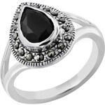 Giani Silver Plated Pear Shaped Onyx Ring