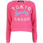 Tokyo Laundry Women's Long Sleeve Cropped Sweatshirt - Hot Pink