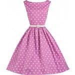 LindyBop šaty Sandy, růžové s bílým puntíkem