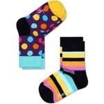 Happy Socks sada dětských ponožek s barevnými puntíky a proužky