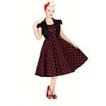 Hearts & Roses London Šaty s bolerkem Vivian Black Red Polka 38