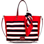 Valentino Reversible Striped Tote with Scarf Tie