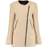BOOHOO Béžový kabát s asymetrickým zipem