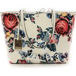 Dámská světlá kabelka s vyjímatelnou kapsou a s motivem růže Beverly Hills Polo Club