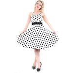 Hearts & Roses London Retro šaty Ella White Black Polka