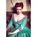 EVA smaragdově zelné retro šaty 50.léta