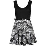 Club L Women's Sleeveless Flocked Belted Skater Dress - Black/White