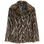 Topshop Chevron Patterned Faux Fur Coat