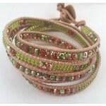 Simply Lovely Korálkový wrap náramek - přírodní/zelená/oranžová/červená