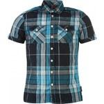 Lee Cooper Short Sleeved Checked Shirt Mens, navy/teal/white