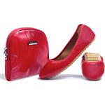 Rollbab Dámské balerínky s taškou SH602_Red