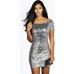BOOHOO Stříbrné mini šaty s flitry Imogen