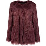 BOOHOO Tmavě vínový kabát Holly s dlouhým chlupem