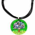Murano Náhrdelník skleněný světle zelený millefiori Paola