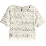 H&M Zkrácené krajkové tričko