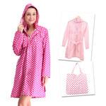 Lesara Regenmantel mit Pünktchen-Muster - Pink - S-L