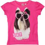 E plus M Dívčí tričko s pejskem - fuchsia