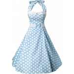 Collectif Clothing 50s Stella Sweetheart Doll Baby Blue Polka Dot swing dress