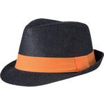 Barevný slamák unisex - černá s oranžovou S/M