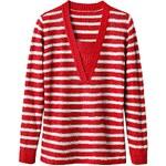 Blancheporte Pruhovaný pulovr efekt 2 v 1 proužky červená/šedá