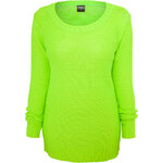 Urban Classics Ladies Wideneck Knit Pullover neon green