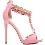 BELLE WOMEN Luxusní růžové sandály se zlatým řetízkem, vel. 40